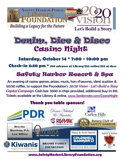 Casino Night Fundraiser, Saturday 10.14, 6:30 PM @ the Safety Harbor Resort & Spa