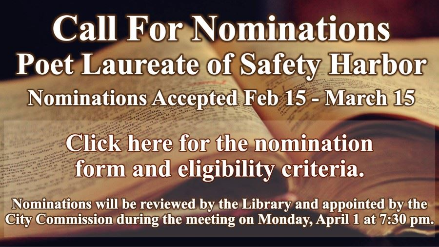 City of Safety Harbor Poet Laureate - Click Here to Nominate - Feb 15 - Mar 15